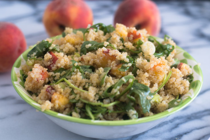 Peach Quinoa Salad with Sriracha Vinaigrette