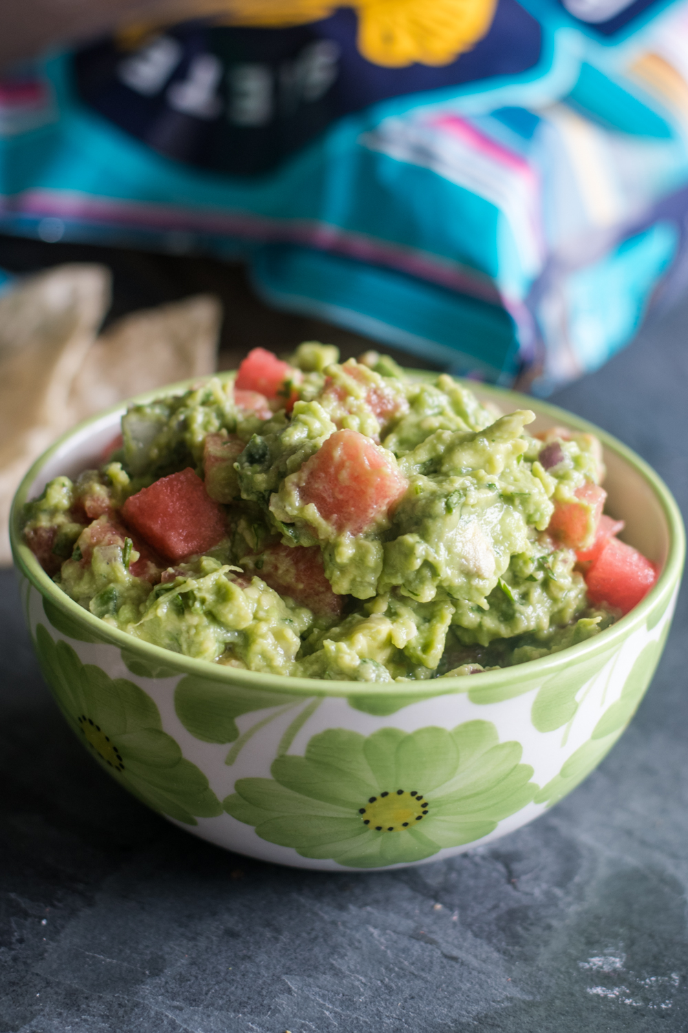 This Watermelon Guacamole is light and refreshing. Perfect for chip dipping!