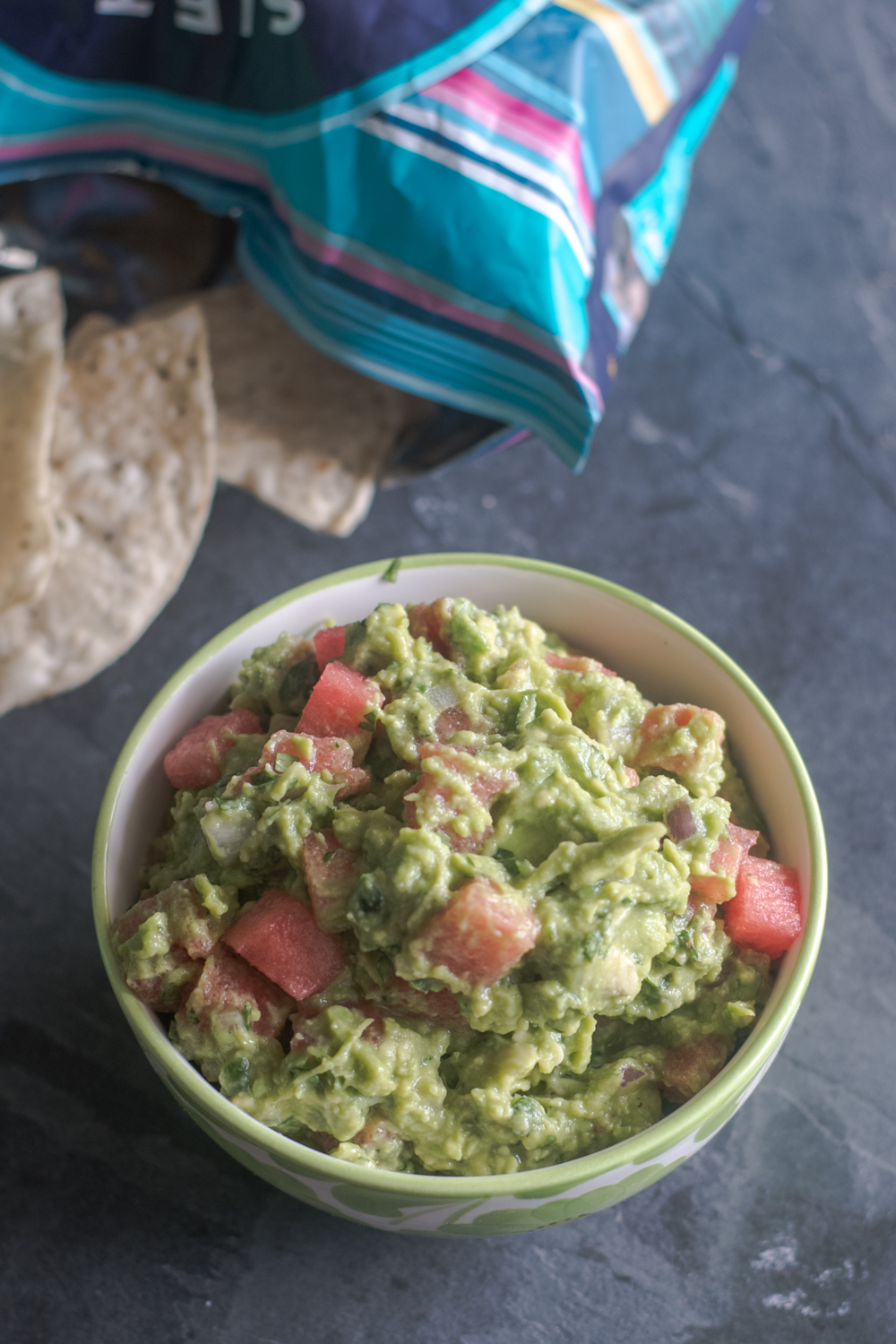 The combination of watermelon and avocado is so good! This guacamole is light, refreshing and delicious!