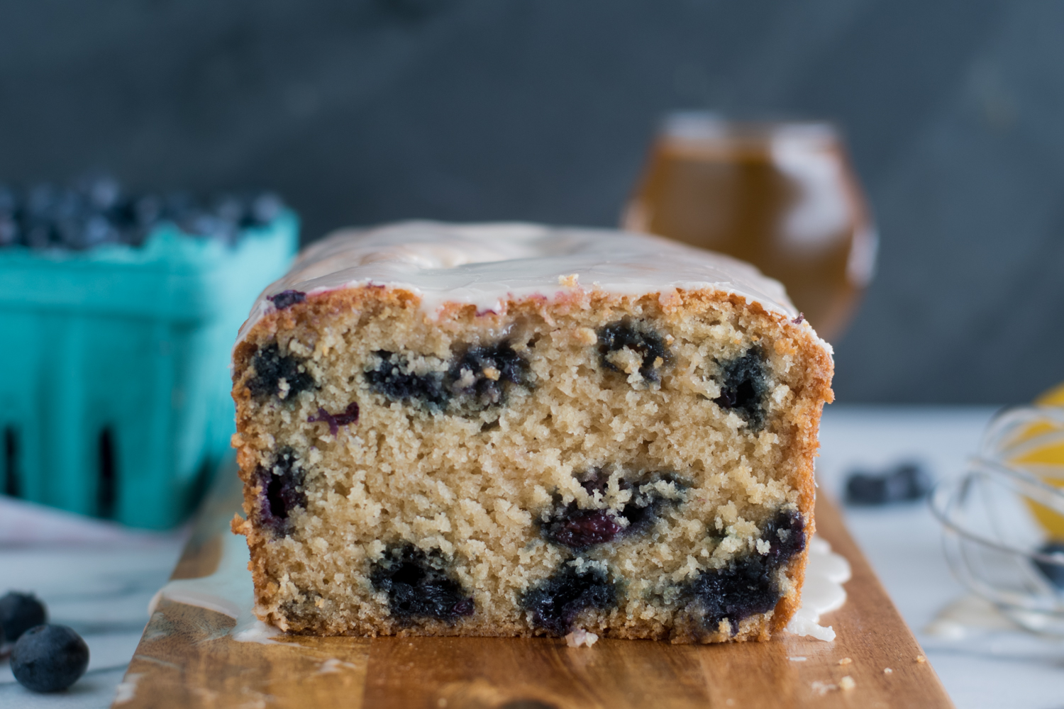 Blueberry golden summer ale creates a light and tender blueberry bread. Lemon zest and fresh lemon juice adds a bright citrus note that pairs beautiful with the blueberries.