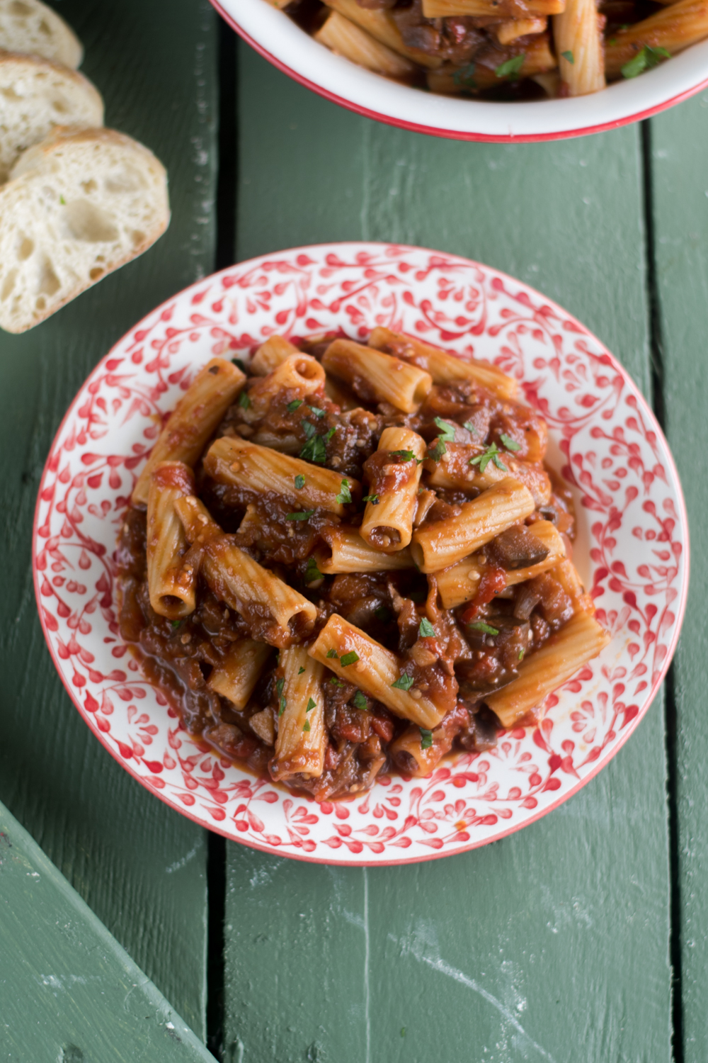 This Eggplant and Mushroom Rigatoni is a flavorful vegan pasta recipe that even omnivores will enjoy!