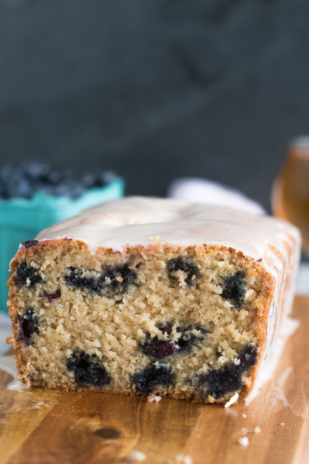 This Blueberry Lemon Beer Bread is light, tender and delicious! It's topped with a lemon glaze.
