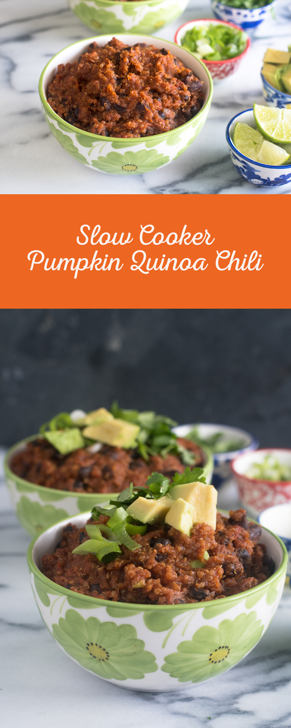Slow Cooker Pumpkin Quinoa Chili is perfect for fall! The slow cooker does all the work for you! Great for meal prepping!