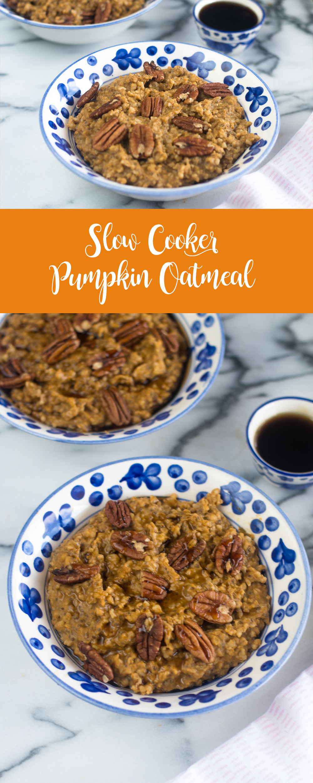 This Slow Cooker Pumpkin Oatmeal is packed with fall flavor! Of course there is pumpkin, but lots of warm, fall spices like cinnamon  and pumpkin pie spice. This oatmeal is warm, cozy and perfect for enjoying on a cool fall morning.