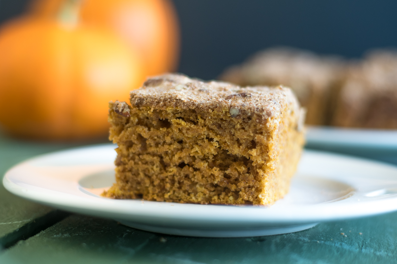 Vegan Pumpkin Cake topped with a pecan streusel is perfect for fall!