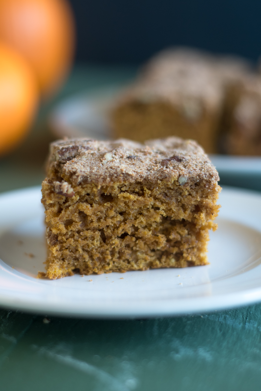 This Vegan Pumpkin Cake topped with a pecan streusel is perfect for fall and the upcoming holidays.