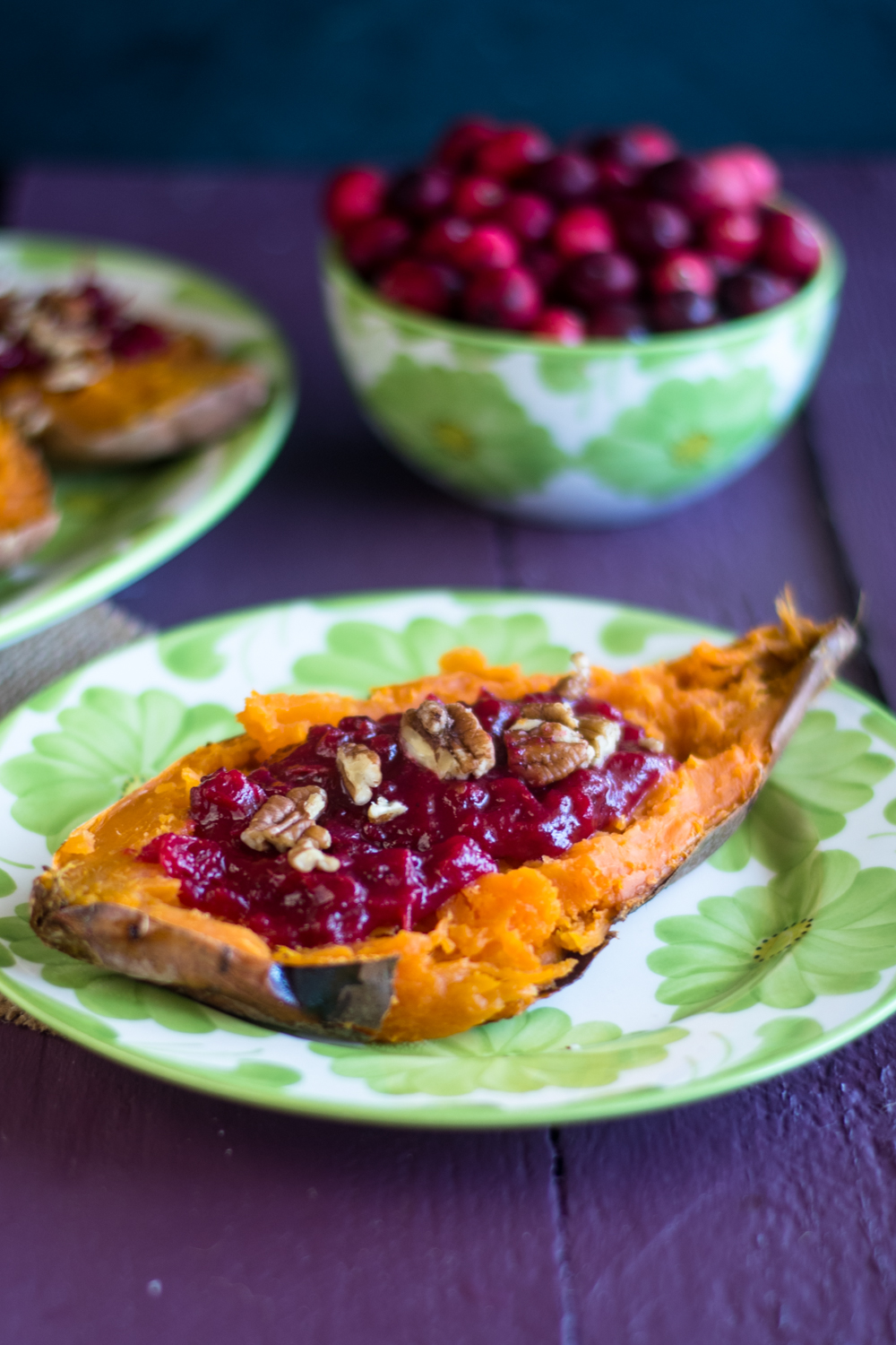 Cranberry Stuffed Sweet Potatoes combine two holiday side dishes in one!  #vegan #thanksgiving