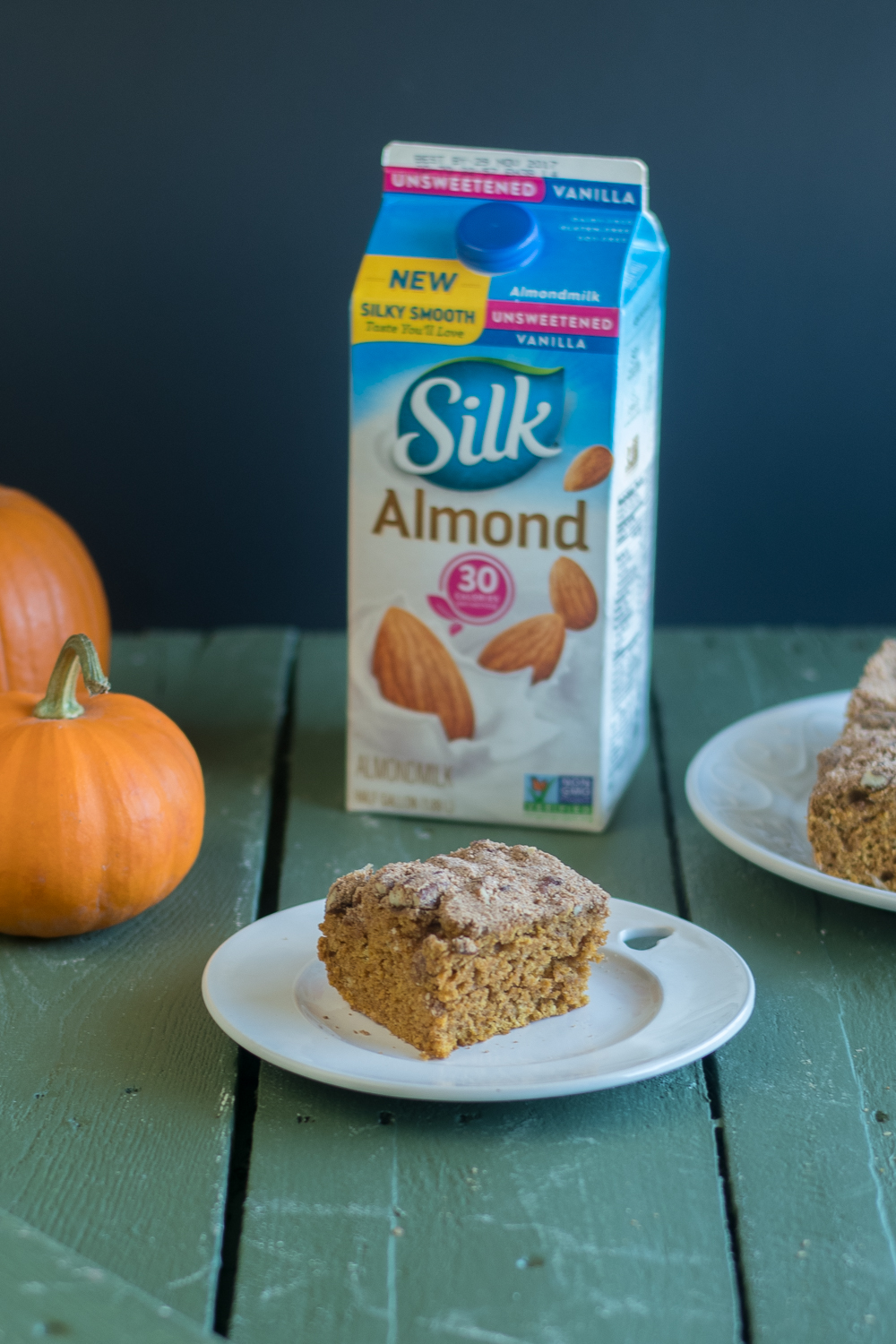 This Vegan Pumpkin Cake with Pecan Streusel is perfect for fall and the upcoming holidays. #SameSilkySmoothTaste @walmart @lovemysilk