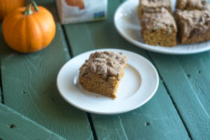 Vegan Pumpkin Cake topped with a pecan streusel topping