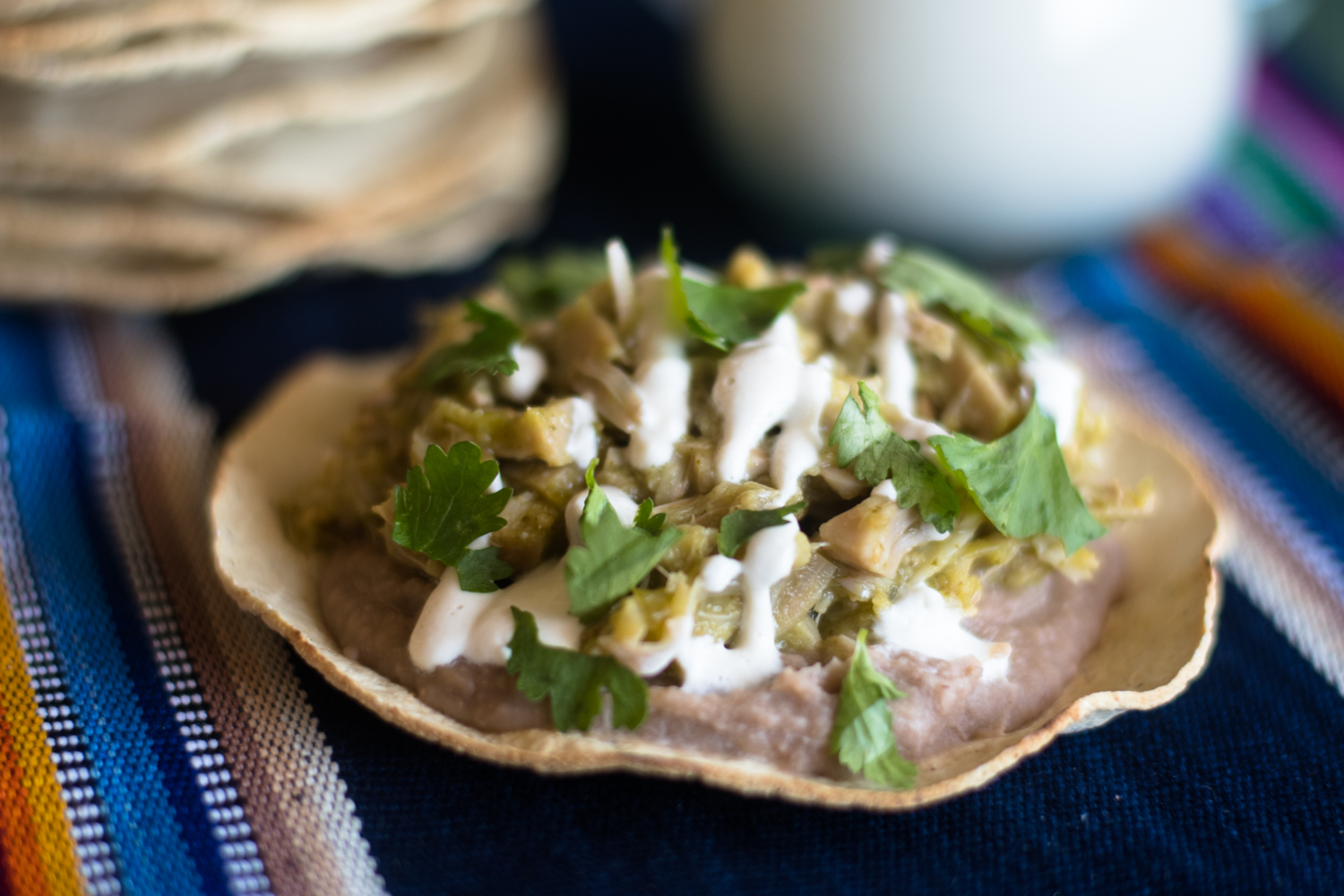 Which up taco night with these Jackfruit Salsa Verde Tostadas!