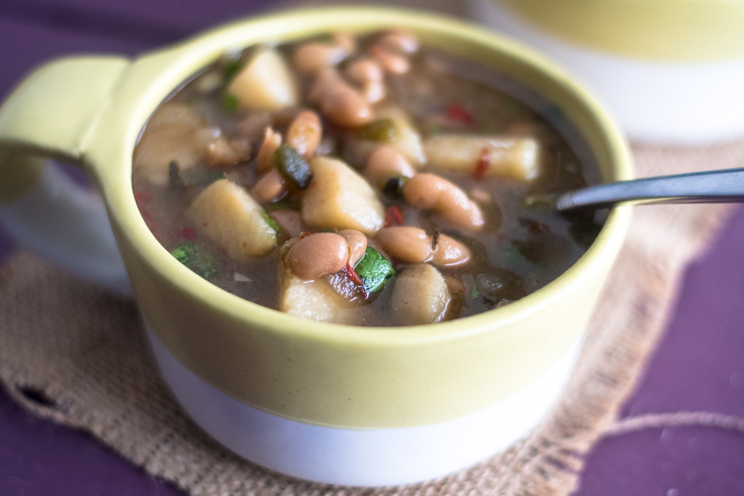 This Slow Cooker Mexican Bean & Potato Soup is perfect for the cooler weather. It's vegan, gluten-free & oil-free!
