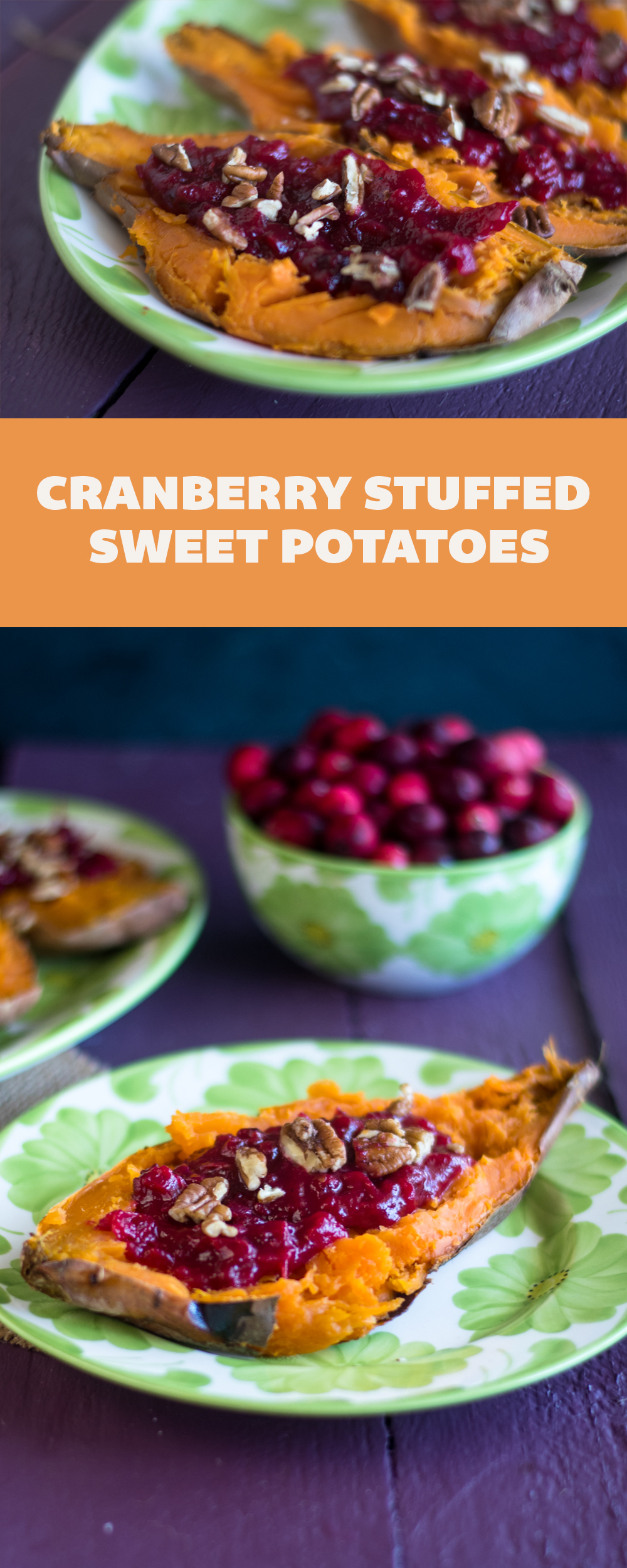 Cranberry Stuffed Sweet Potatoes combine two holiday side dishes in one!  #vegan #thanksgiving #fall