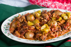 Vegan Mexican Bacalao is inspired by the traditional Bacalao served during Christmas. This vegan version using jackfruit instead of dried salted cod. #vegan #christmas