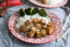 Baked tofu with a flavorful tea marinated.
