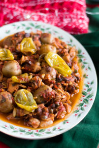 Vegan Mexican Bacalao is inspired by the traditional Bacalao served during Christmas. This vegan version using jackfruit instead of dried salted cod. #vegan #mexican