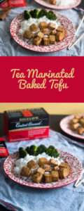 Brewed tea makes a delicious marinade! These tea marinated baked tofu is a healthy, plant-based protein! #vegan