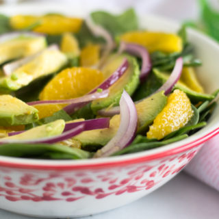 Spinach Orange Avocado Salad with a Guava Dressing. #healthy #salad