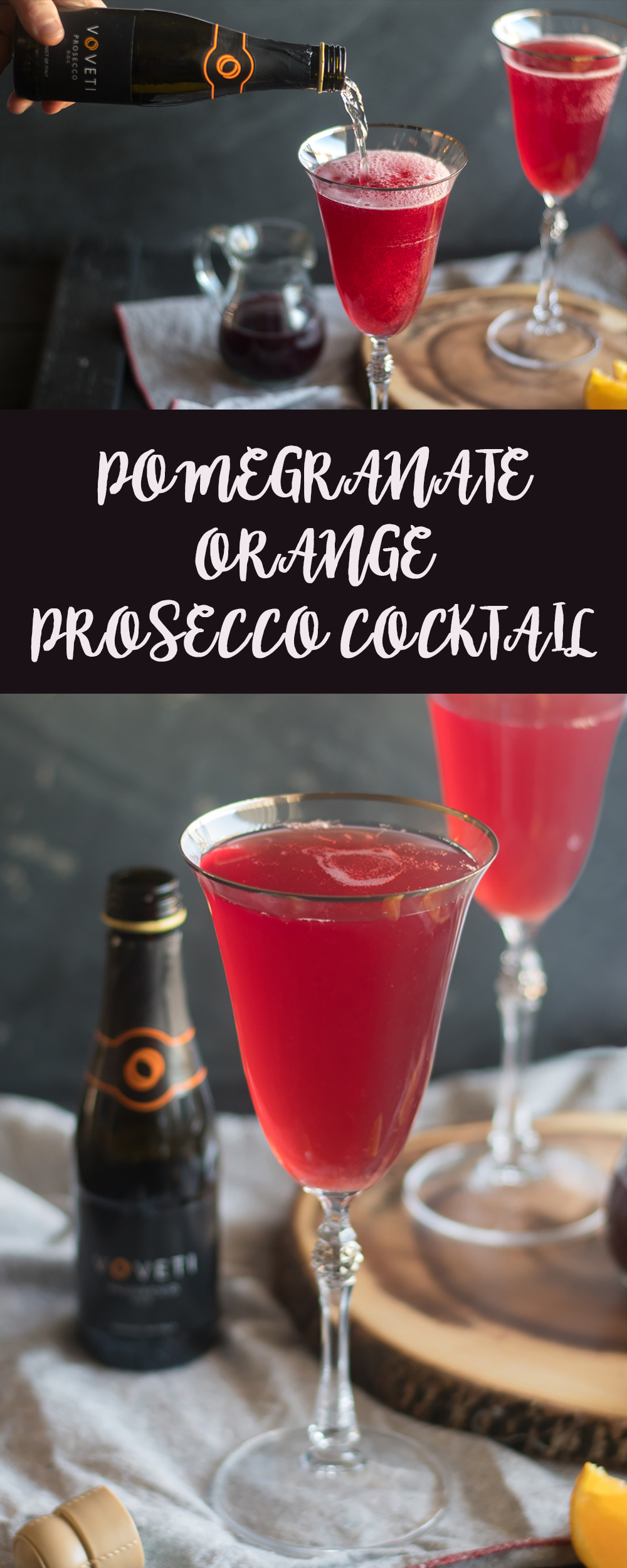 This Pomegranate Orange Prosecco Cocktail is an easy cocktail that's perfect for a date night at home.