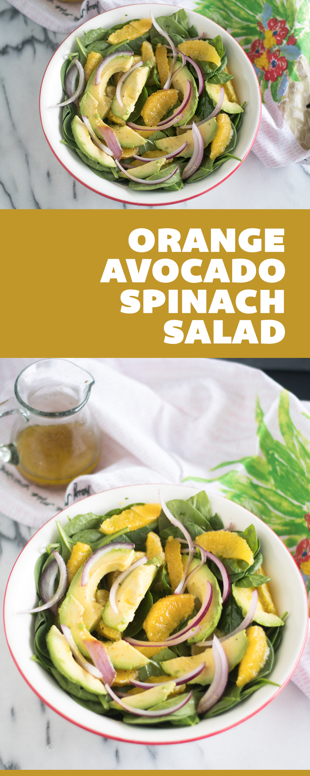 Start the new year off on a healthy note with this Spinach Orange and Avocado Salad with Guava Dressing! This salad is  light, refreshing and a perfect balance of flavors. #salad #vegan