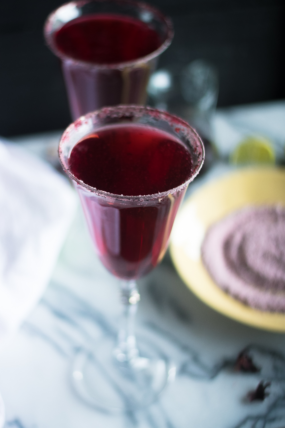 Slightly sweet and tart, these Hibiscus Mimosas are the perfect brunch cocktail.