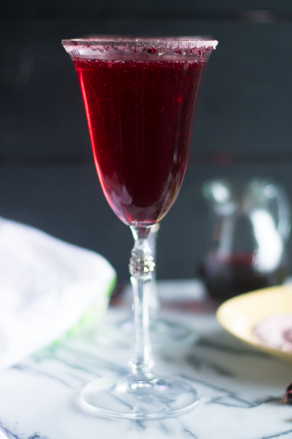 Slightly sweet and tart, these Hibiscus Mimosas are the perfect brunch cocktail.  #drink