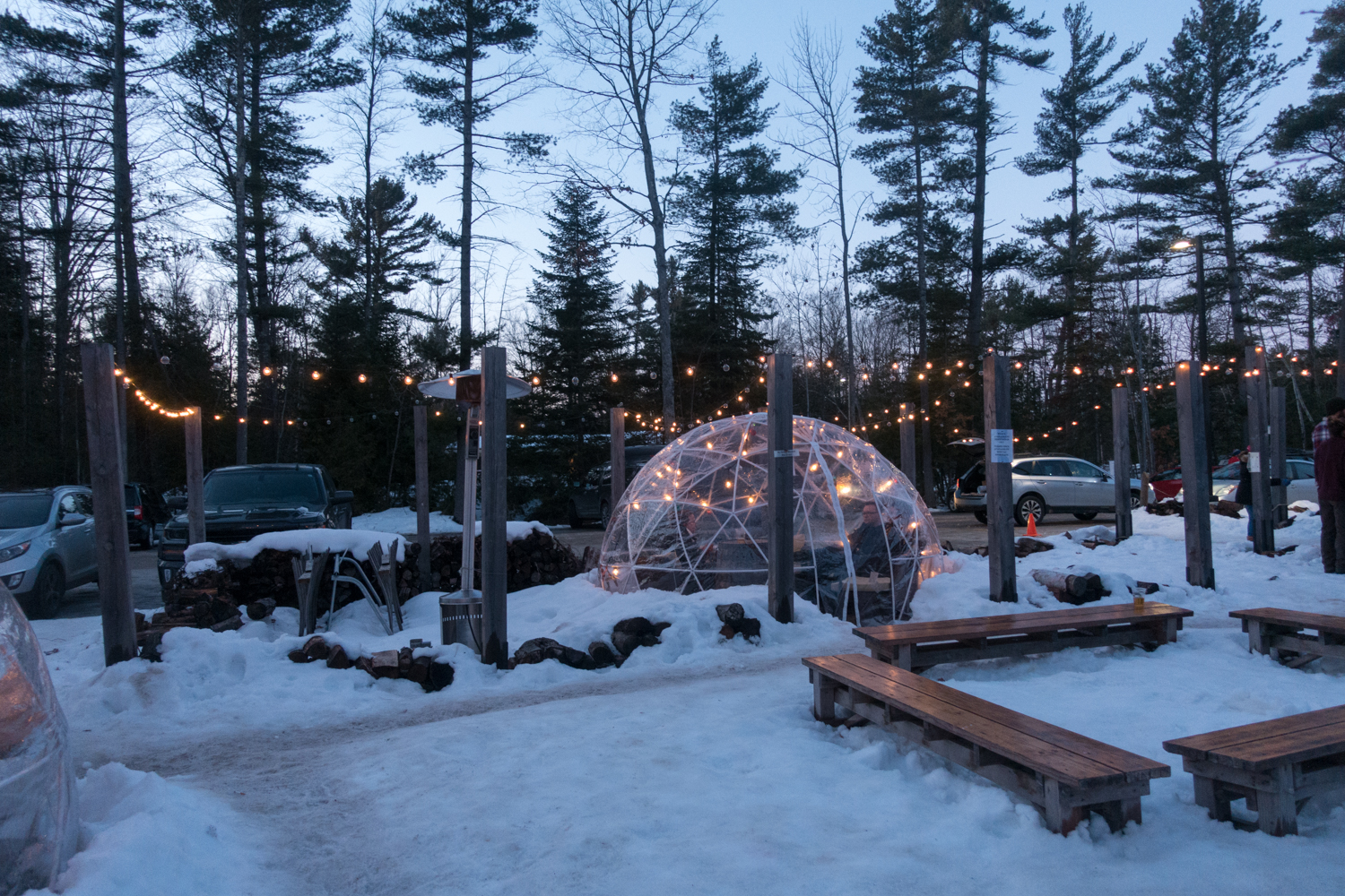 igloos at Hop Lot Brewing, located in Sutton's Bay.  #michigan #travel
