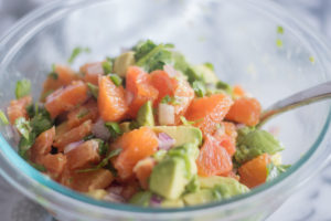 Orange Avocado Salsa is a bright flavorful salsa that's perfect for chip dipping! #Mexican #Salas