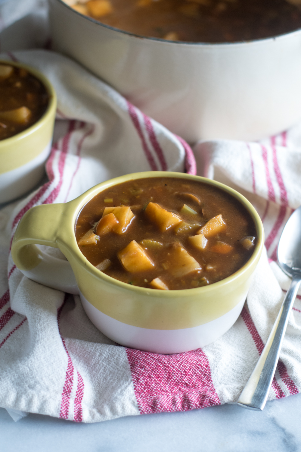 This Vegan Irish Stew is perfect for St. Patrick's Day! Hearty root vegetables are cooked in a rich stout based stock.