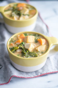 Tofu Sweet Potato and Almond Butter Stew with kale is a healthy and nutritious stew.