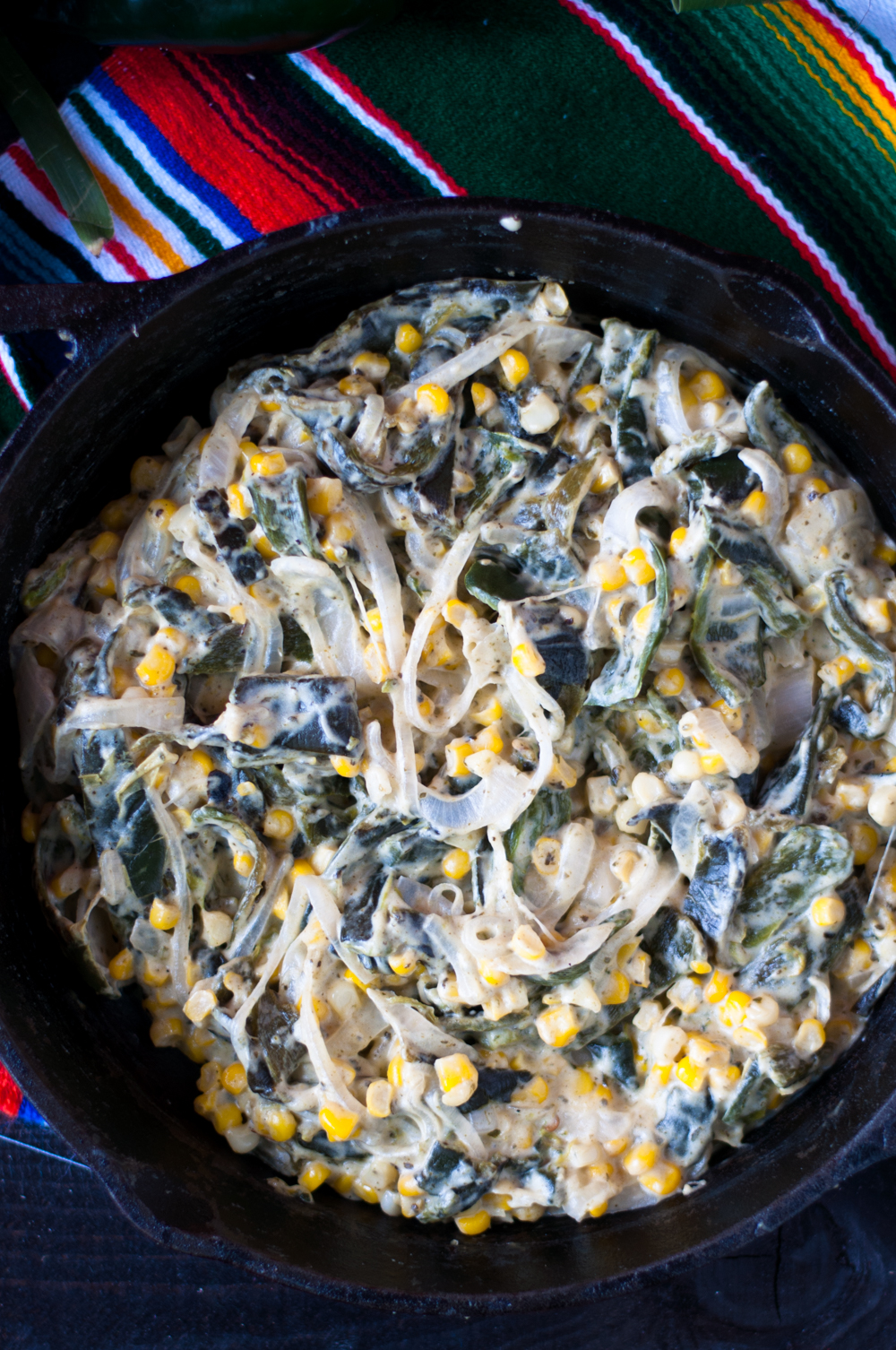 Inspired by traditional Mexican Rajas con Crema, these Vegan Creamy Rajas are dairy-free! #vegan #mexican
