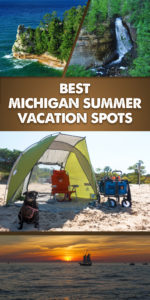 A guide to the Best Michigan Summer Vacation Spots. Discover the natural and diverse beauty of Michigan. Dip your toes into Lake Michigan, kayak in the largest great lake, go blueberry picking, or enjoy a glass of Michigan wine. #Michigan #summer #travel #Midwest #PureMichigan #Beach #getaway #Lake #Beer #nature #kayaking #mackinac #picturedrocks #holland #saugatuck