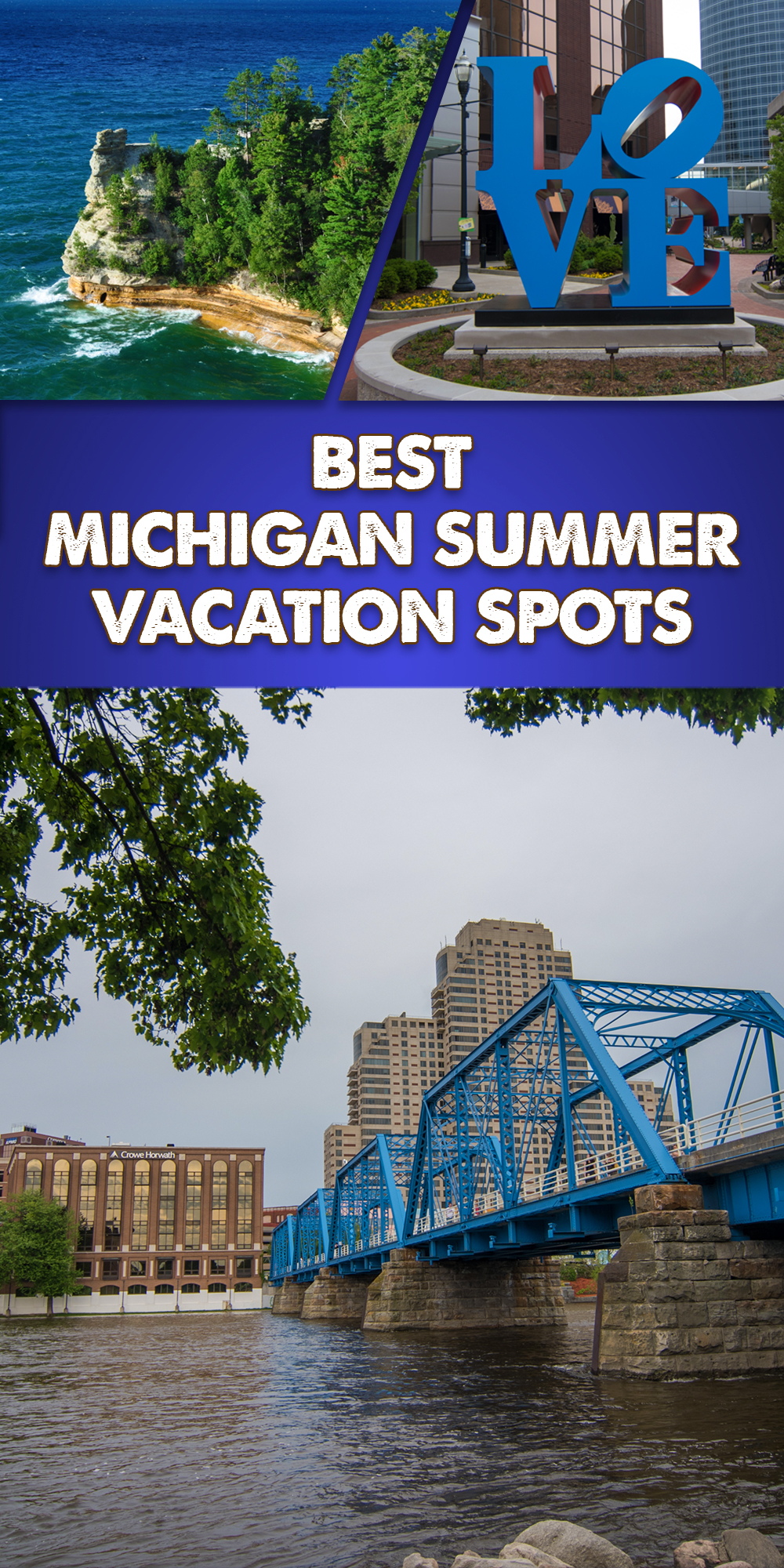 A guide to the Best Michigan Summer Vacation Spots. Discover the natural and diverse beauty of Michigan. Dip your toes into Lake Michigan, kayak in the largest great lake, go blueberry picking, or enjoy a glass of Michigan wine. #Michigan #summer #travel #Midwest #PureMichigan #Beach #getaway #Lake #Beer #nature #kayaking #mackinac #picturedrocks #holland #saugatuck #grandrapids