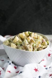 Vegan Dill Potato Salad is perfect for Summer BBQs and picnics!#vegan #summer #BBQ #sides #recipe #potato #salad