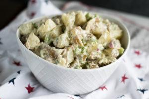 Vegan Dill Potato Salad is perfect for Summer BBQs and picnics!#vegan #summer #BBQ #sides #potato #salad #potluck #picnic #recipes