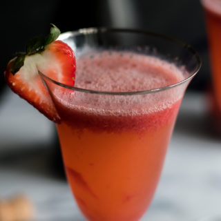 Strawberry Bellini is a twist on the classic peach bellini which is made with peach puree and sparkling wine. Instead of using peach puree, this cocktail uses a strawberry puree.