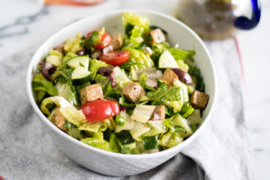 Vegan Greek Chopped Salad with tofu is perfect for summer!#vegan #salad #greek #tofu #summer #healthy