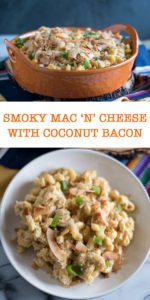 """This Smoky Mac """"n' Cheese is a decadent and soul-warming dish that is a favorite at potlucks and BBQs. The coconut bacon takes this recipe to the next level! #pasta #recipe #BBQ #vegan #dinner"""