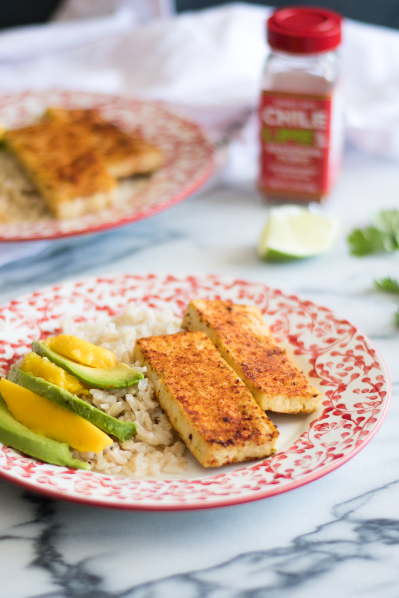 Chile lime tofu served with rice, mango and avocado. An easy tofu dish that you'll love.
