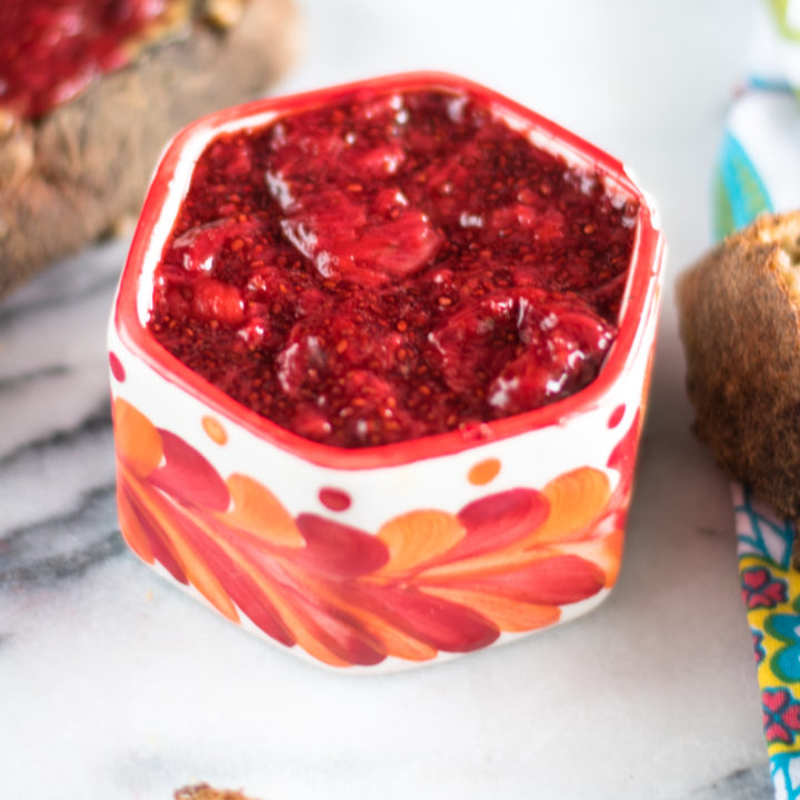 Strawberry Vanilla Chia Jam is quick and easy to make. Plus, it's naturally sweetened. #jam #strawberry #chia #vegan #healthy #recipes #glutenfree