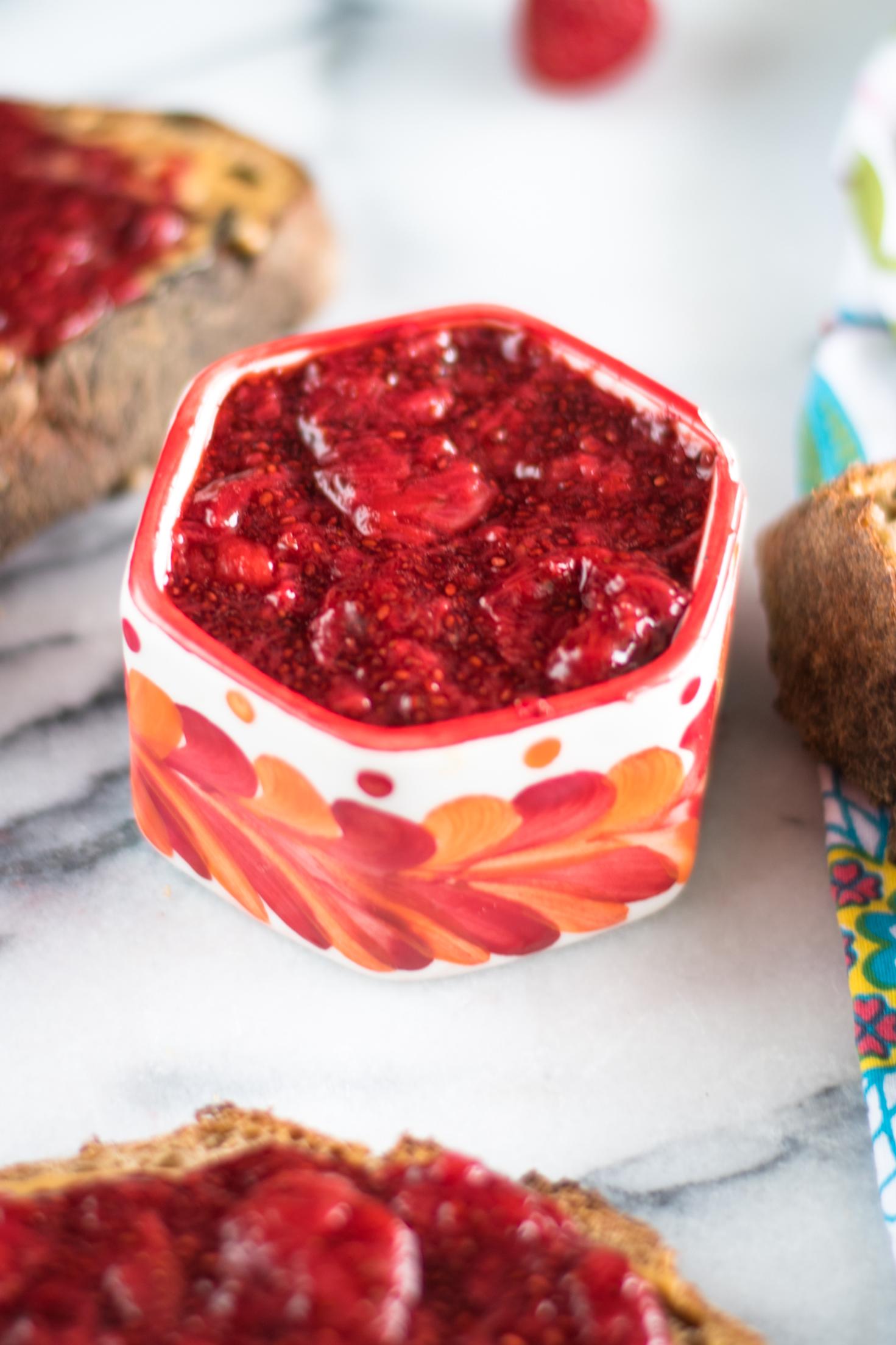 Strawberry Vanilla Chia Jam is quick and easy to make. Plus, it's naturally sweetened. #jam #strawberry #chia #vegan #healthy #recipes #glutenfree