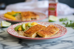 Tofu marinated in a lime marinated and rubbed with chile lime seasoning. This Chile Lime Tofu is so flavorful! #vegan #tofu #mexican #recipe