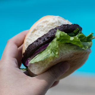 Vegan Summer Burgers by the poolside! #vegan #summer #pool #BBQ
