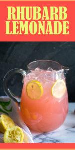 Light, refreshing lemonade made with rhubarb simple syrup. The perfect way too cool down on a hot summer day. #summer #lemonade #drink #recipe #vegan #lemon #rhubarb