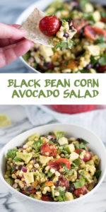 This Black Bean, Corn and Avocado Salad is perfect for summer BBQs and picnics! #summer #vegan #recipe #simplerecipe #glutenfree #avocado #beans #corn #salad #BBQ #picnic #vegetarian