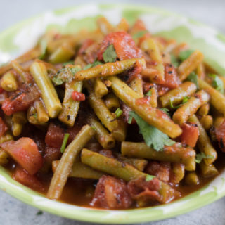 Green Beans simmered with tomatoes and chipotle peppers. #vegan #Mexican #side #sidedish #vegetarian