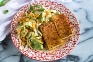 Mexican Cabbage and Avocado Salad is the perfect side dish to serve alongside a main dish. #vegan #veganrecipes #fall #winter #tofu #salad #glutenfree #dairyfree
