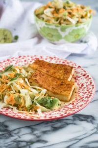 Mexican Cabbage and Avocado Salad with a creamy lime dressing is a simple salad and side dish recipe. So easy to make too! #vegan #veganrecipes #easyrecipes #vegetarian #glutenfree #dairyfree