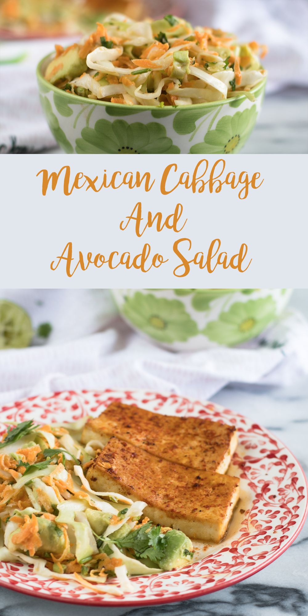 A flavorful Mexican Cabbage and Avocado Salad. This simple salad is bursting with bright flavor. #salad #vegan #veganrecipes #Mexican #dairyfree #glutenfree #fall #fallrecipes #easyrecipes
