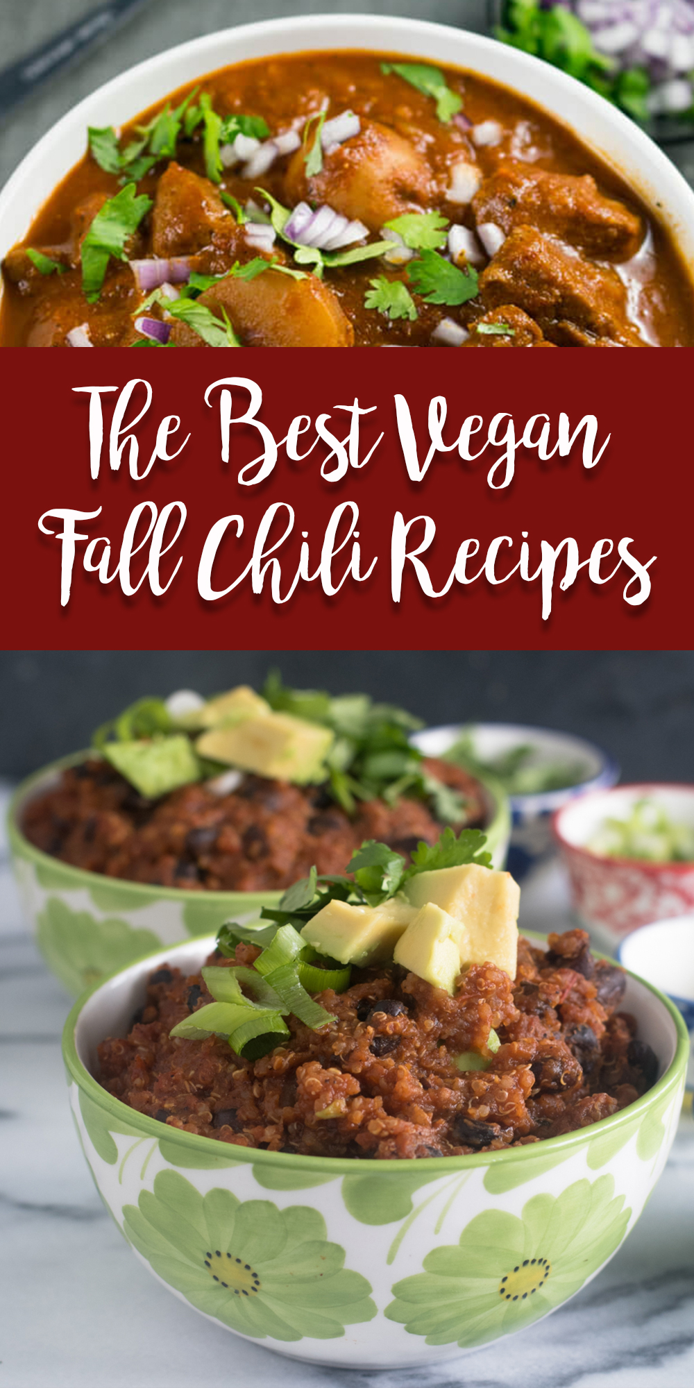 There are just so many great vegan chili recipes for fall! I hope that this list of the best vegan chili recipes for fall has inspired you to try some new vegan chili recipes soon! #fall #chili #vegan #veganrecipes #fallrecipes #easyrecipes #recipes #vegetarian