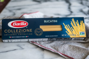 The Collezione brand is a premium pasta that comes in six artisanal pasta shapes. What makesCollezione different is the bronze cut. The cut makes the perfect texture to hold sauce. I also love that the Barilla® Collezione pasta is made with non-GMO ingredients.